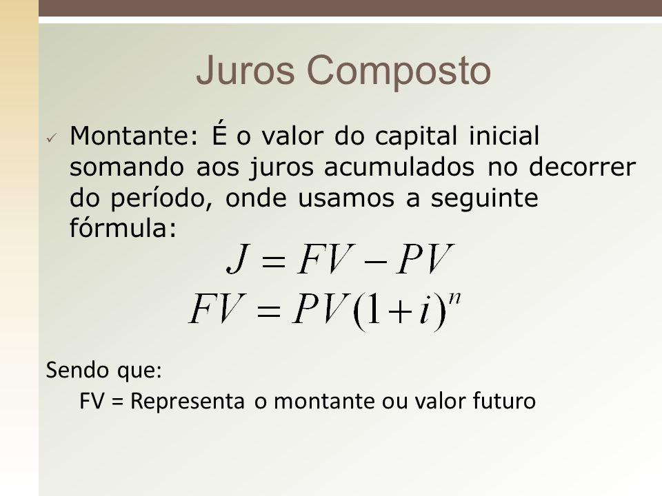 Juros Composto Montante: É o valor do capital inicial somando aos juros acumulados no decorrer do período, onde usamos a seguinte fórmula: