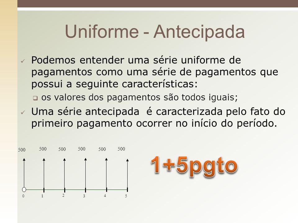 1+5pgto Uniforme - Antecipada