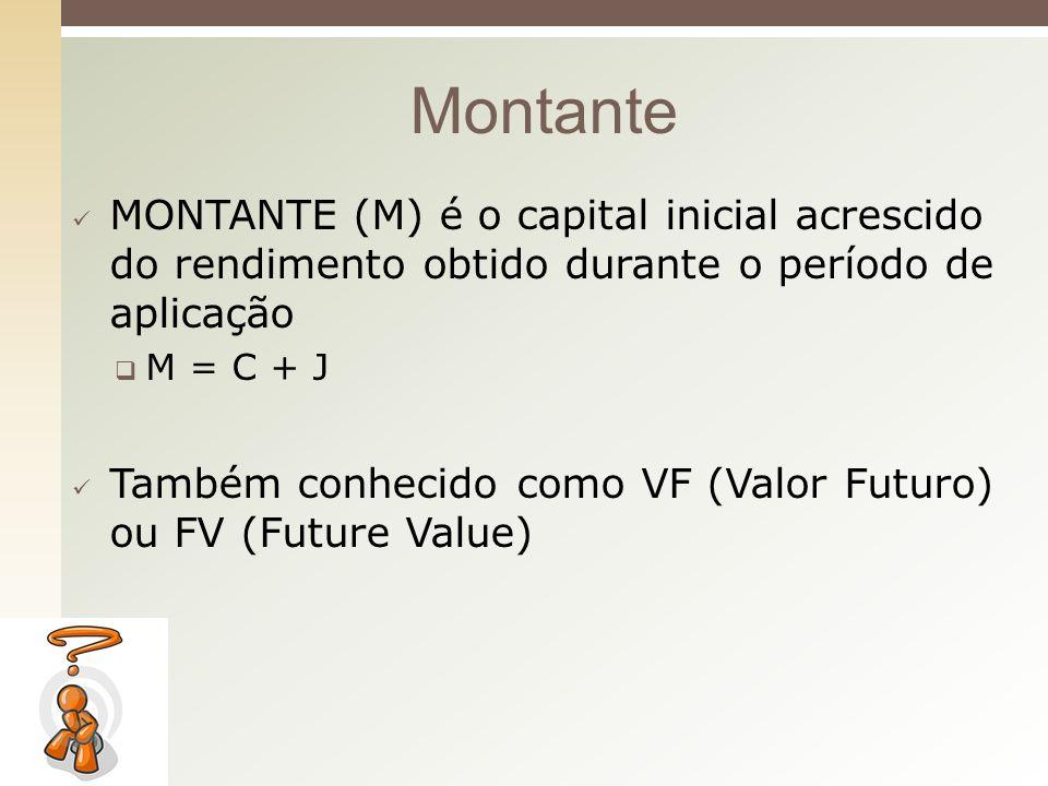 Montante MONTANTE (M) é o capital inicial acrescido do rendimento obtido durante o período de aplicação.