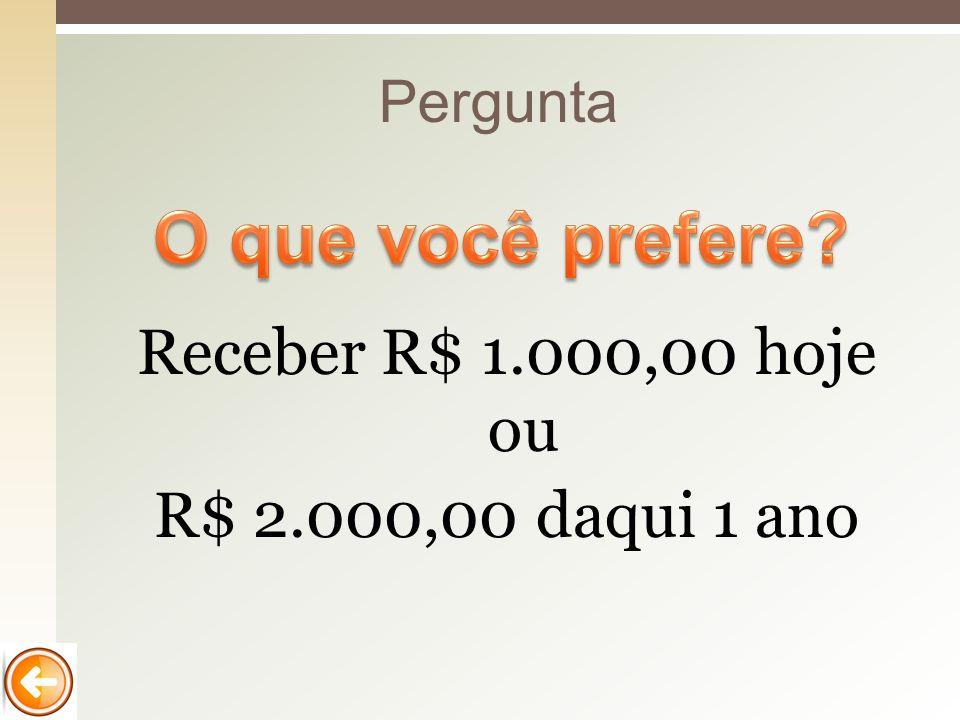 Receber R$ 1.000,00 hoje ou R$ 2.000,00 daqui 1 ano