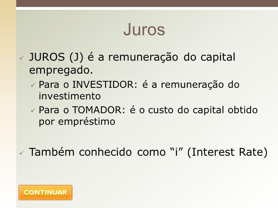 Juros JUROS (J) é a remuneração do capital empregado.