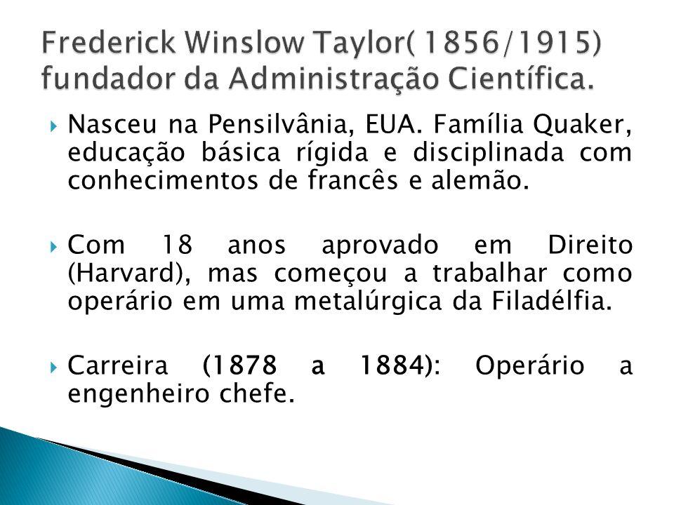 Frederick Winslow Taylor( 1856/1915) fundador da Administração Científica.
