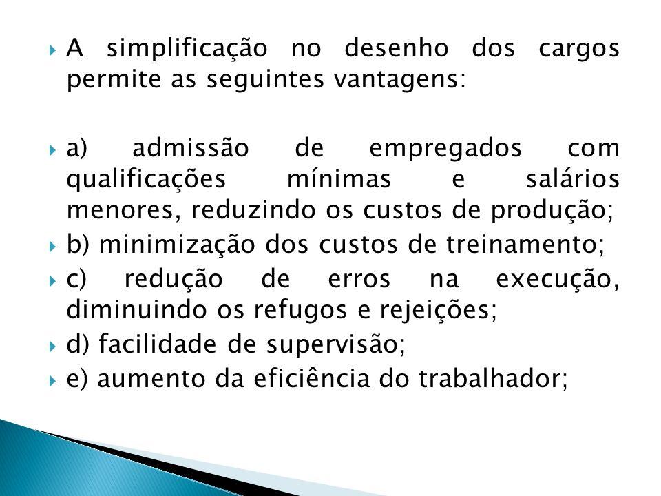 A simplificação no desenho dos cargos permite as seguintes vantagens: