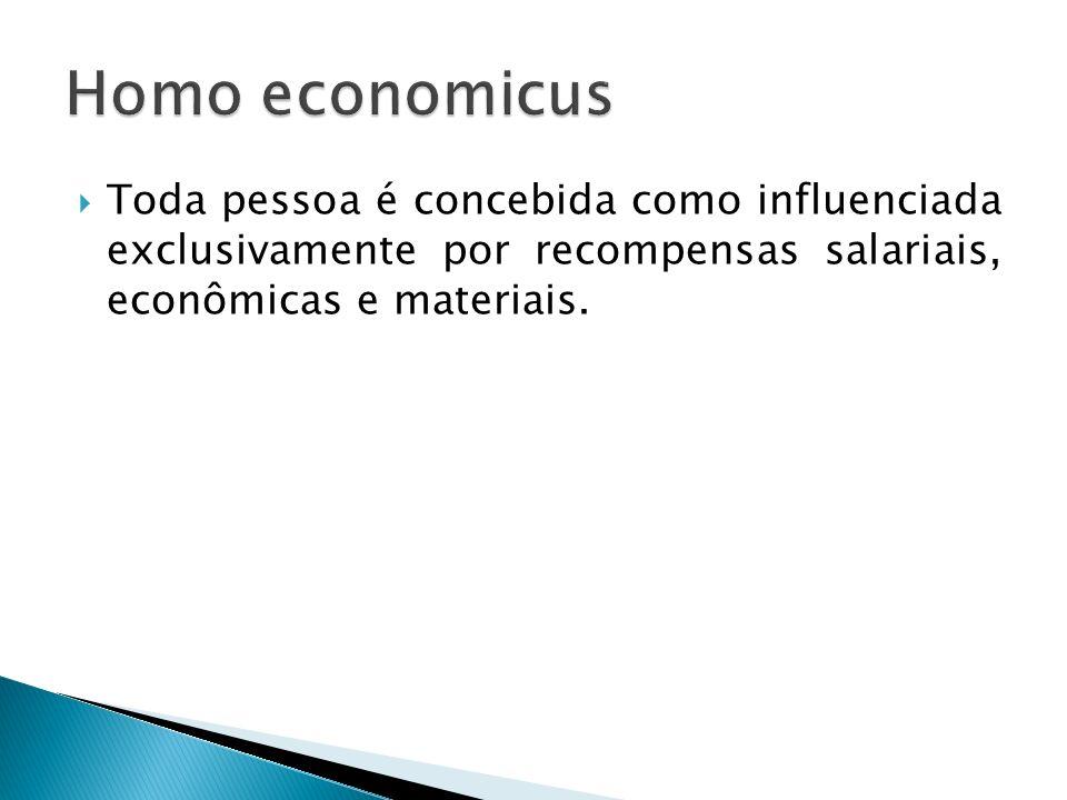 Homo economicus Toda pessoa é concebida como influenciada exclusivamente por recompensas salariais, econômicas e materiais.