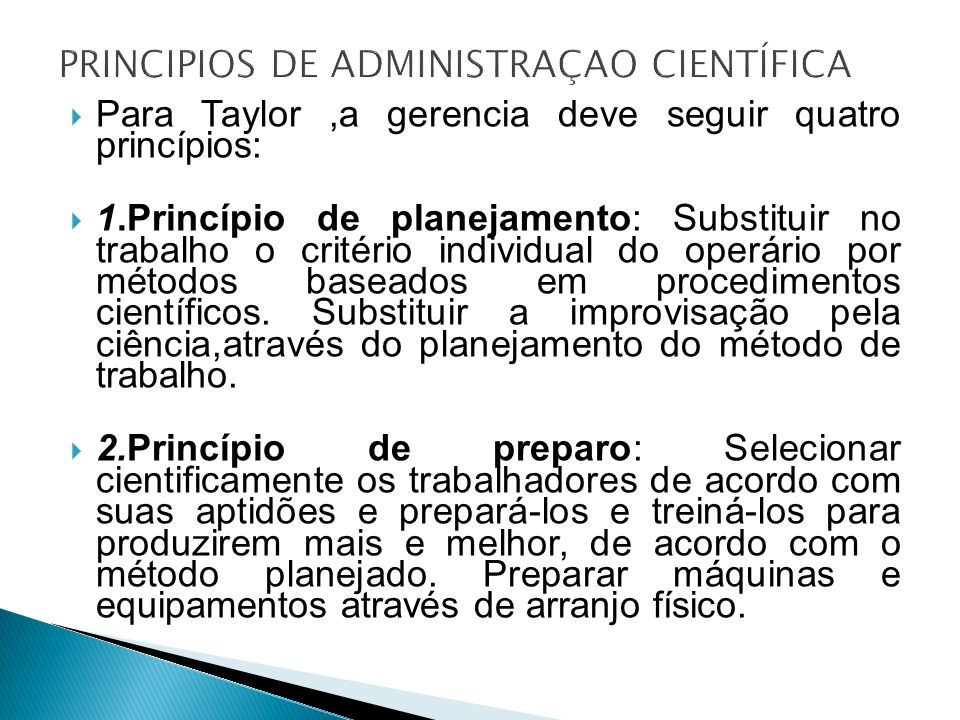 PRINCIPIOS DE ADMINISTRAÇAO CIENTÍFICA