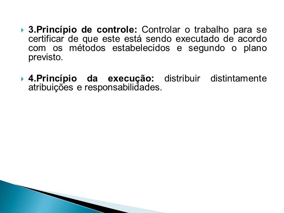 3.Princípio de controle: Controlar o trabalho para se certificar de que este está sendo executado de acordo com os métodos estabelecidos e segundo o plano previsto.
