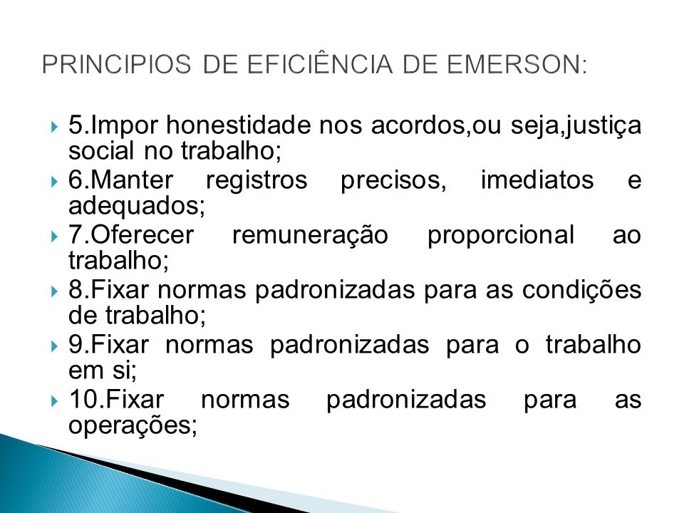 PRINCIPIOS DE EFICIÊNCIA DE EMERSON: