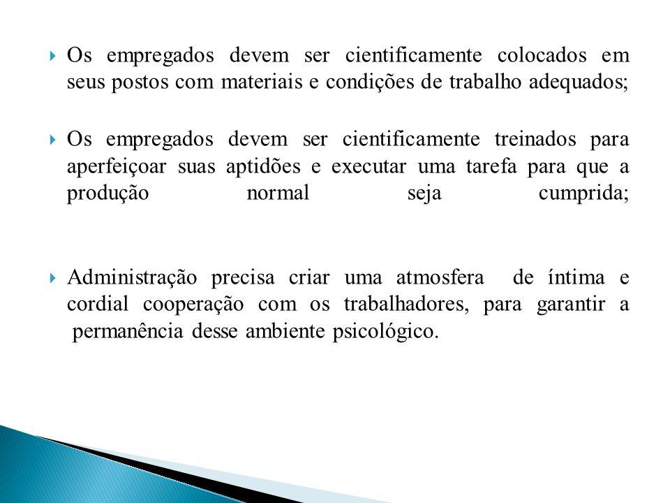 Os empregados devem ser cientificamente colocados em seus postos com materiais e condições de trabalho adequados;