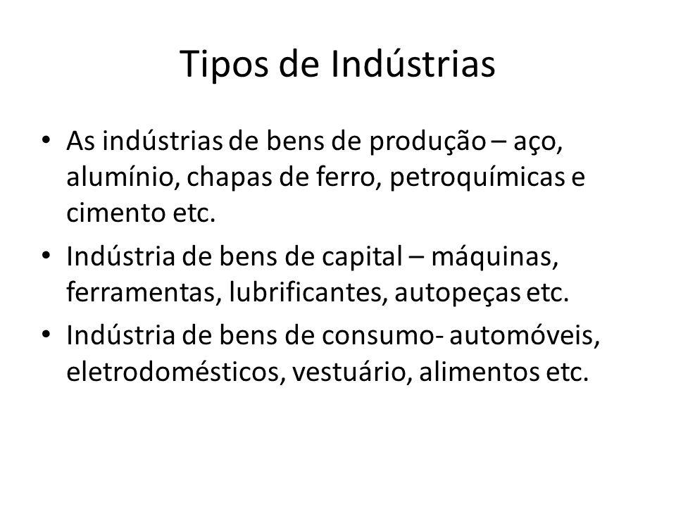 Tipos de Indústrias As indústrias de bens de produção – aço, alumínio, chapas de ferro, petroquímicas e cimento etc.