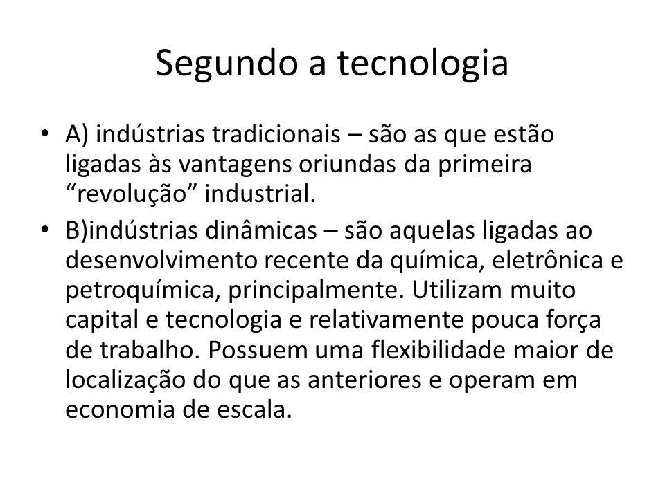 Segundo a tecnologia A) indústrias tradicionais – são as que estão ligadas às vantagens oriundas da primeira revolução industrial.