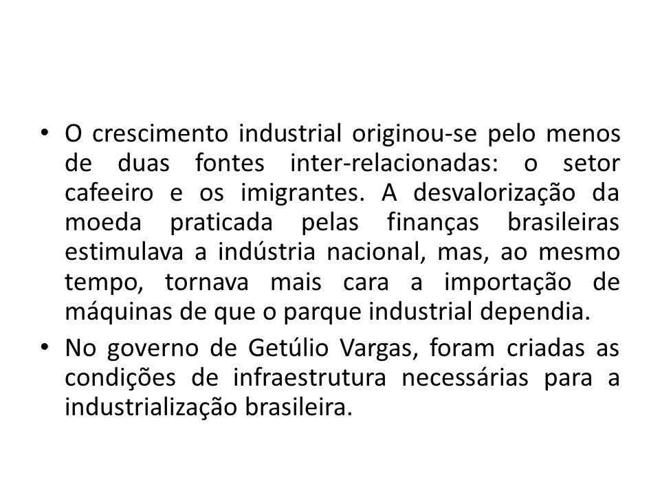 O crescimento industrial originou-se pelo menos de duas fontes inter-relacionadas: o setor cafeeiro e os imigrantes. A desvalorização da moeda praticada pelas finanças brasileiras estimulava a indústria nacional, mas, ao mesmo tempo, tornava mais cara a importação de máquinas de que o parque industrial dependia.