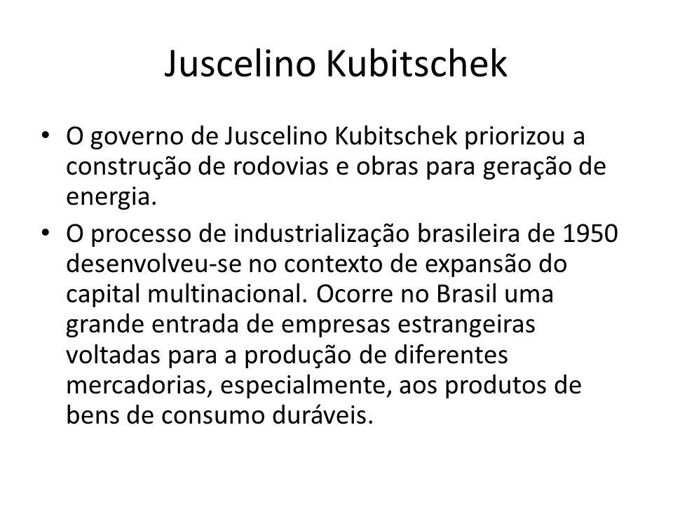 Juscelino Kubitschek O governo de Juscelino Kubitschek priorizou a construção de rodovias e obras para geração de energia.