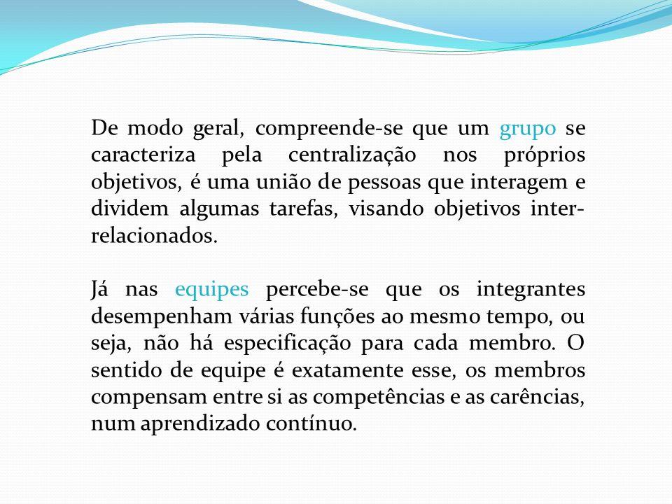 De modo geral, compreende-se que um grupo se caracteriza pela centralização nos próprios objetivos, é uma união de pessoas que interagem e dividem algumas tarefas, visando objetivos inter-relacionados.