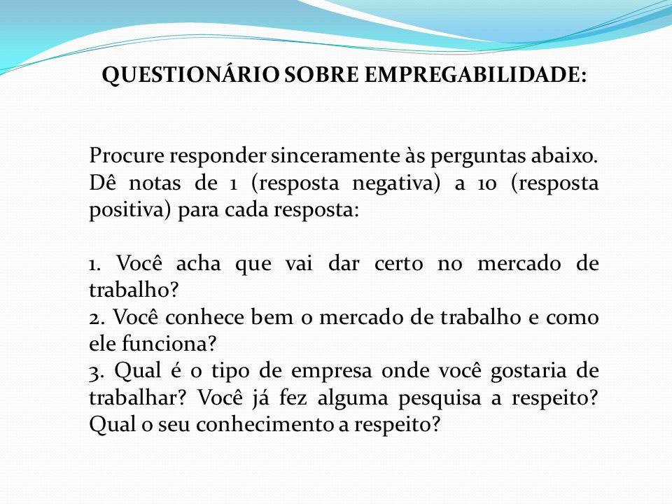 QUESTIONÁRIO SOBRE EMPREGABILIDADE: