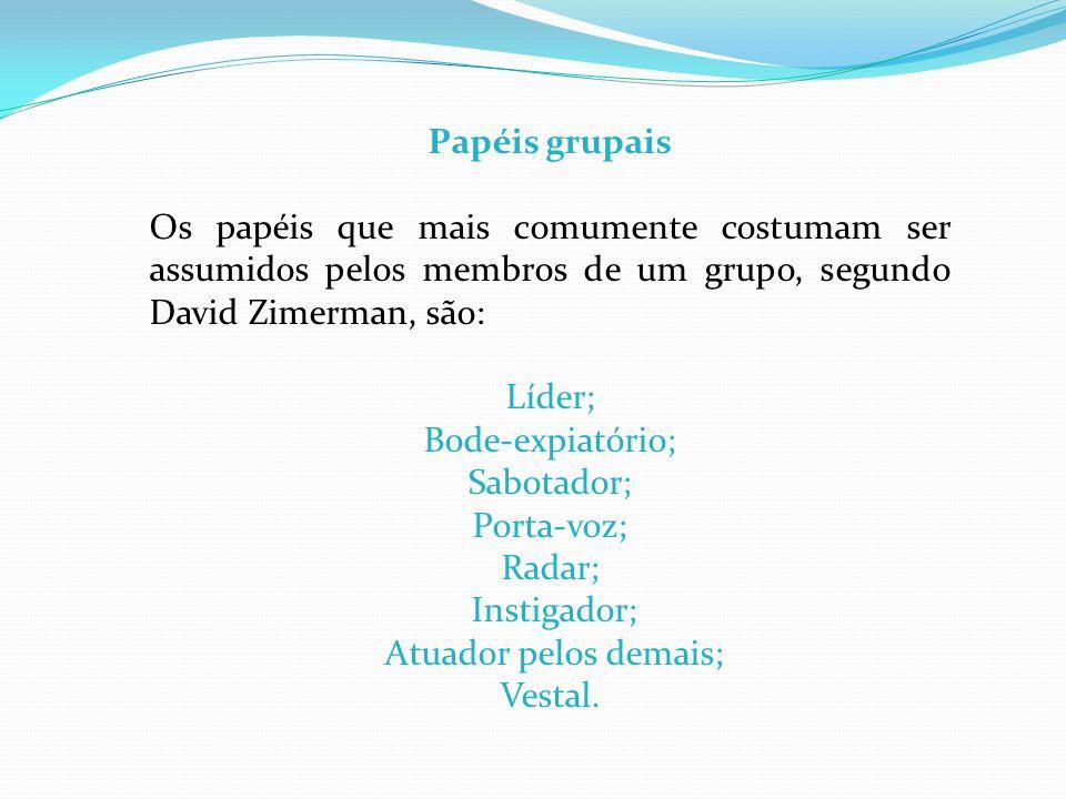 Papéis grupais Os papéis que mais comumente costumam ser assumidos pelos membros de um grupo, segundo David Zimerman, são:
