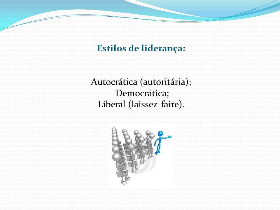 Autocrática (autoritária); Democrática; Liberal (laissez-faire).