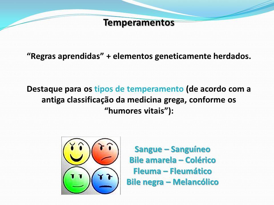 Temperamentos Regras aprendidas + elementos geneticamente herdados.