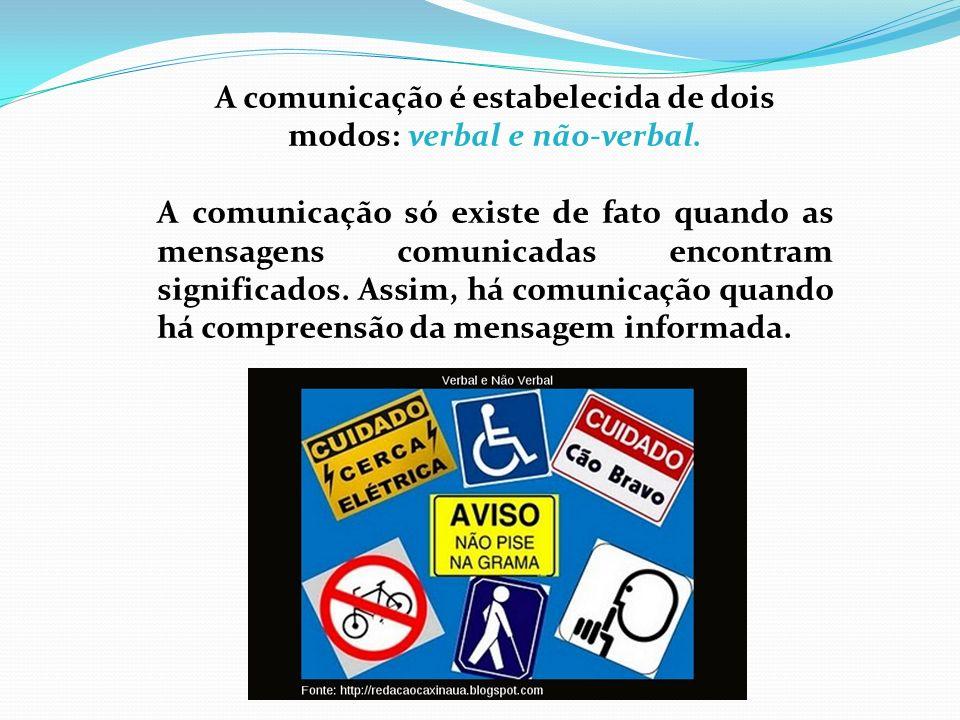 A comunicação é estabelecida de dois modos: verbal e não-verbal.