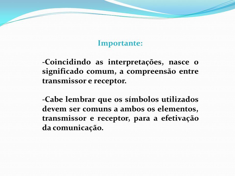 Importante: -Coincidindo as interpretações, nasce o significado comum, a compreensão entre transmissor e receptor.