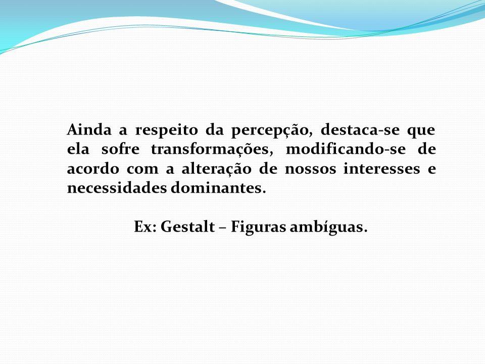 Ex: Gestalt – Figuras ambíguas.