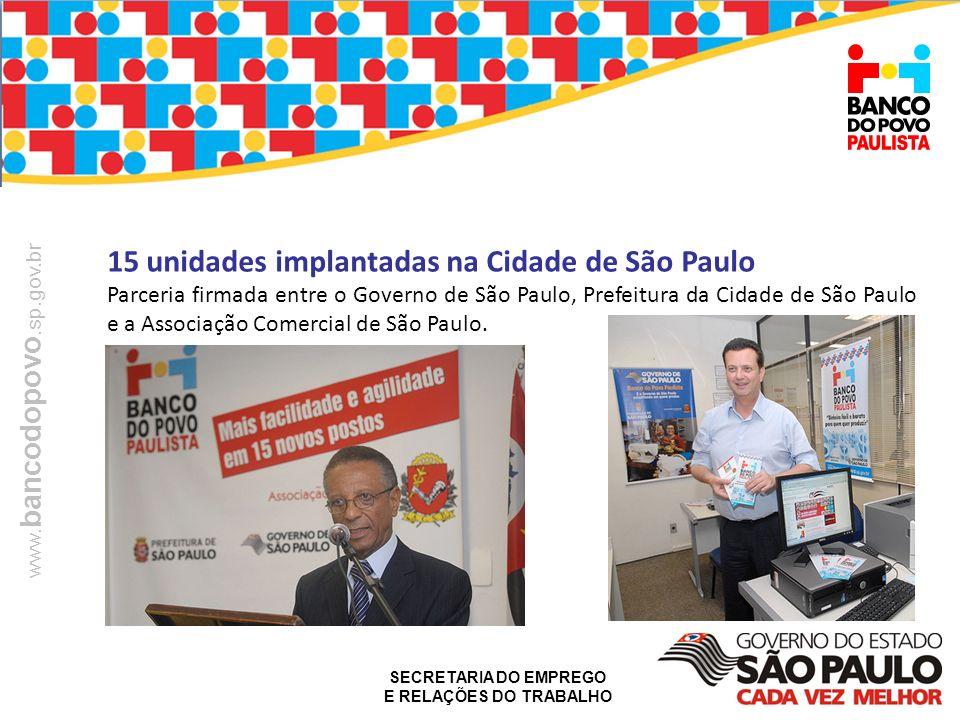 15 unidades implantadas na Cidade de São Paulo