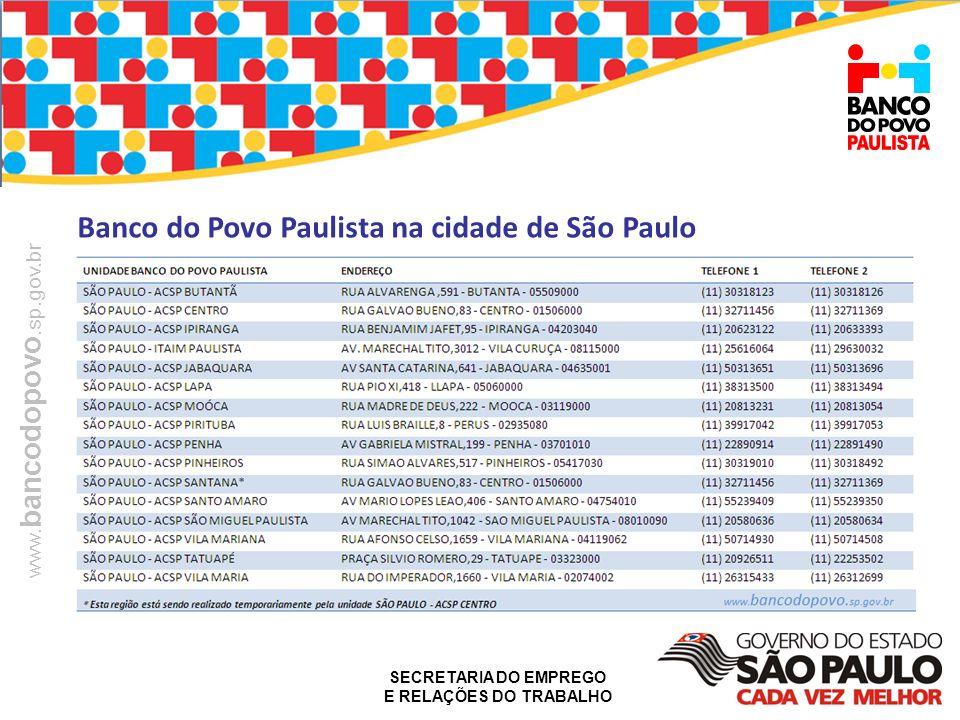Banco do Povo Paulista na cidade de São Paulo