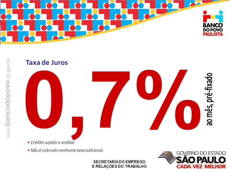 0,7% Taxa de Juros Crédito sujeito a análise.
