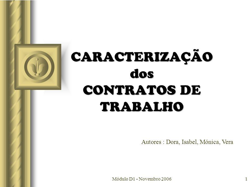 CARACTERIZAÇÃO dos CONTRATOS DE TRABALHO