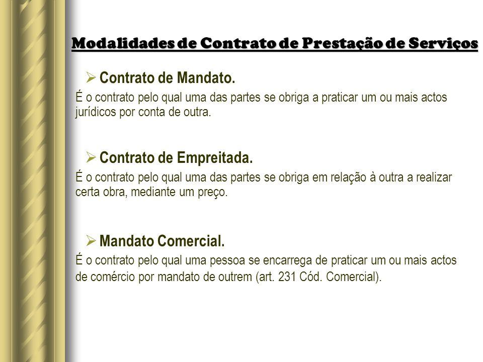 Modalidades de Contrato de Prestação de Serviços