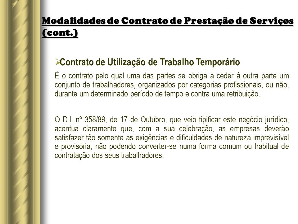 Modalidades de Contrato de Prestação de Serviços (cont.)