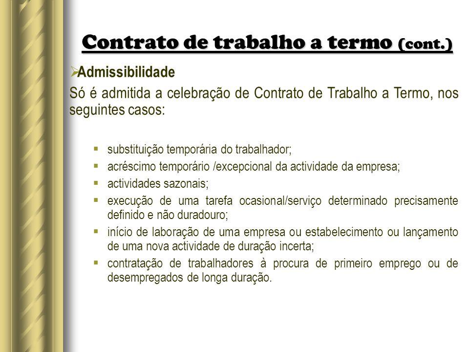 Contrato de trabalho a termo (cont.)