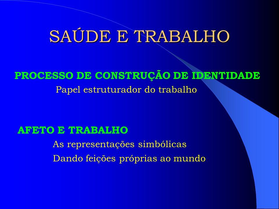 SAÚDE E TRABALHO PROCESSO DE CONSTRUÇÃO DE IDENTIDADE AFETO E TRABALHO