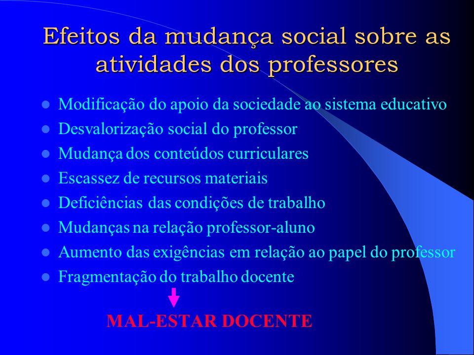 Efeitos da mudança social sobre as atividades dos professores