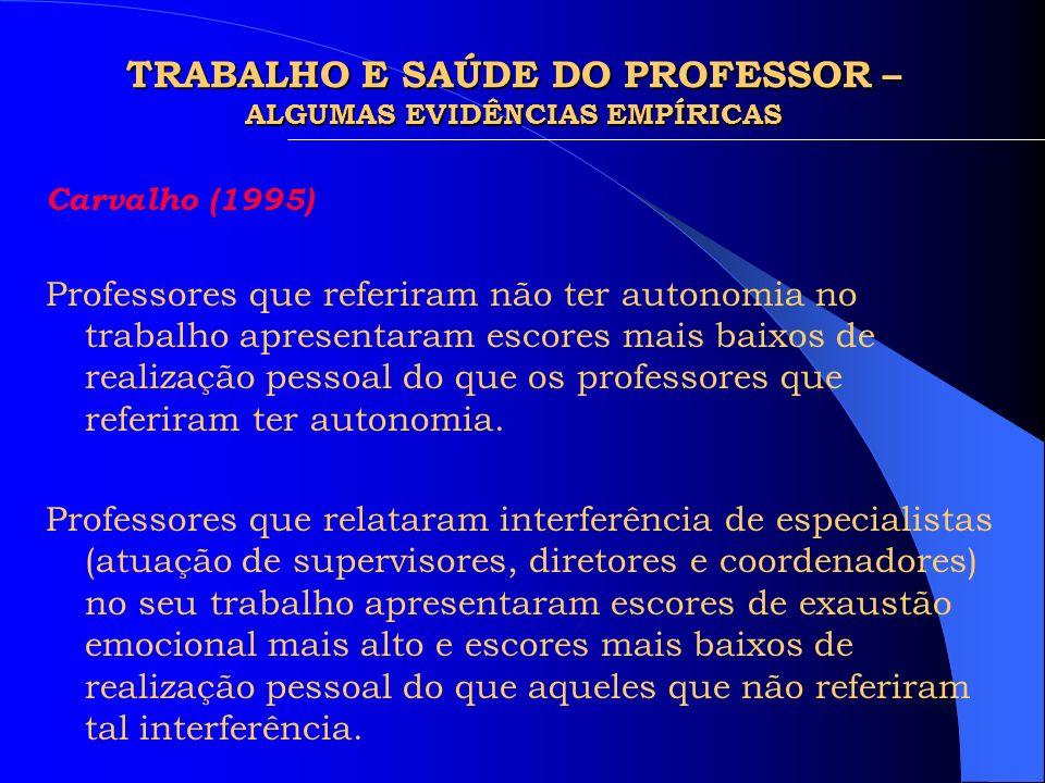 TRABALHO E SAÚDE DO PROFESSOR – ALGUMAS EVIDÊNCIAS EMPÍRICAS
