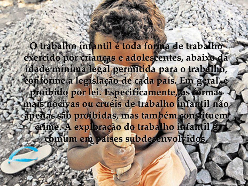 O trabalho infantil é toda forma de trabalho exercido por crianças e adolescentes, abaixo da idade mínima legal permitida para o trabalho, conforme a legislação de cada país.