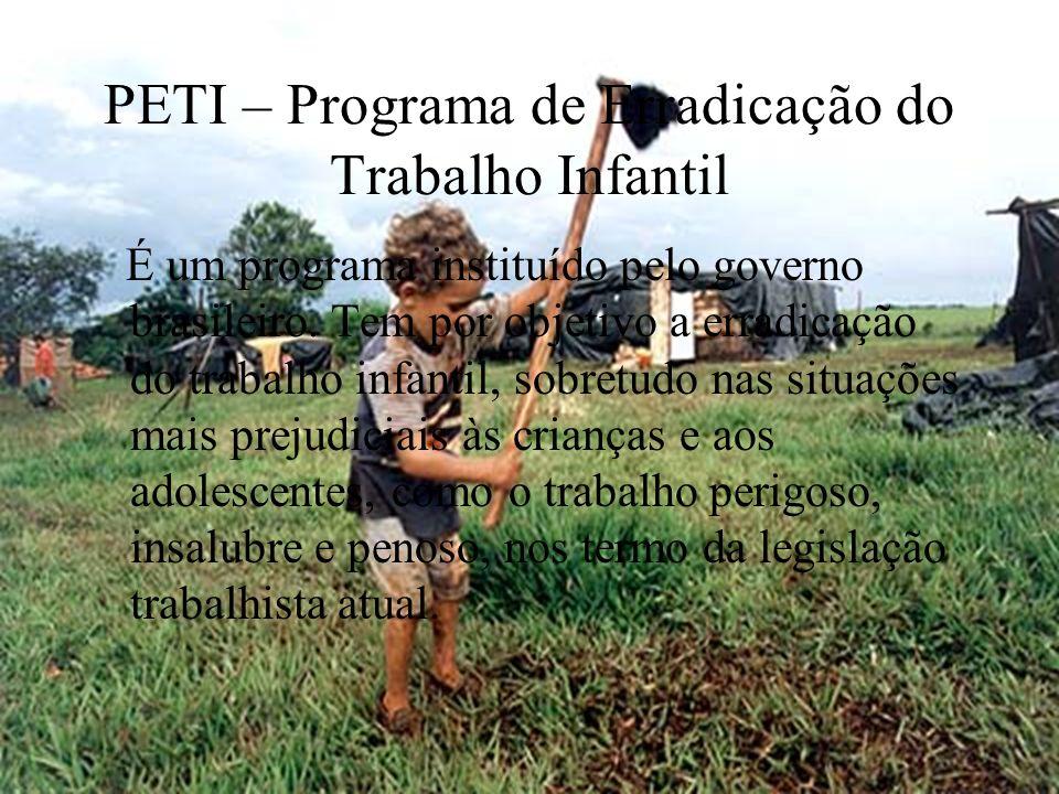 PETI – Programa de Erradicação do Trabalho Infantil