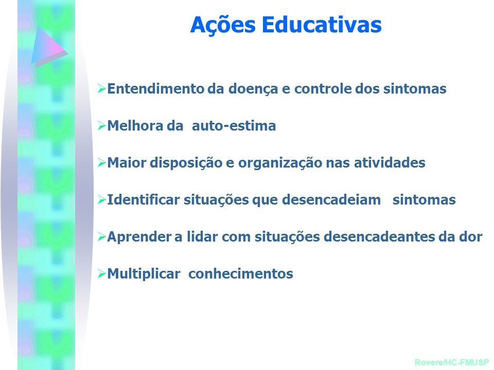 Ações Educativas Entendimento da doença e controle dos sintomas