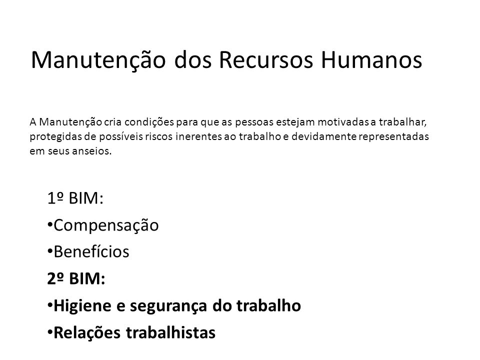 Manutenção dos Recursos Humanos