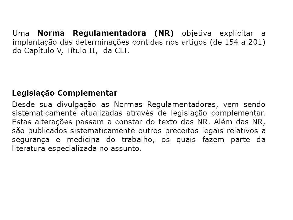 Uma Norma Regulamentadora (NR) objetiva explicitar a implantação das determinações contidas nos artigos (de 154 a 201) do Capítulo V, Título II, da CLT.