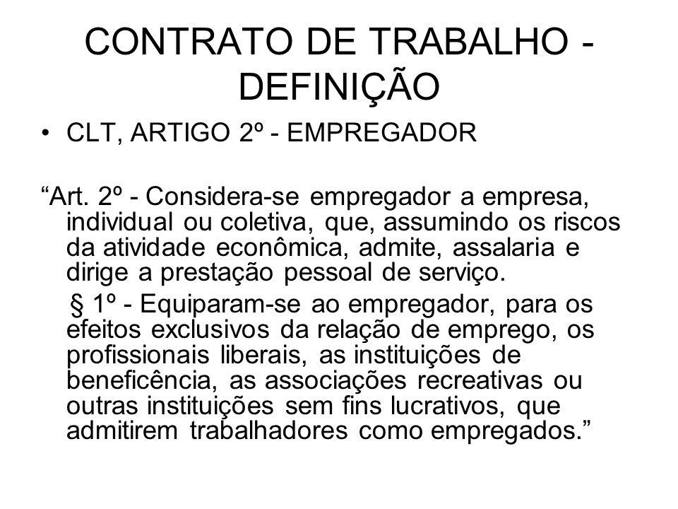 CONTRATO DE TRABALHO - DEFINIÇÃO