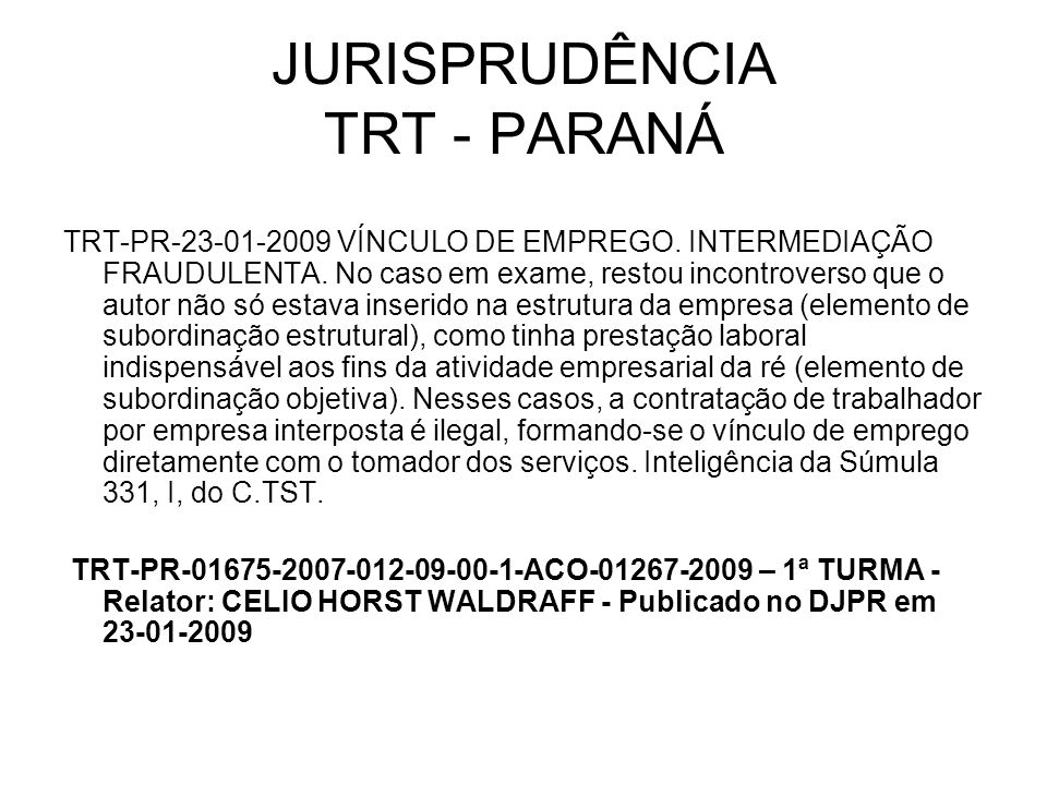 JURISPRUDÊNCIA TRT - PARANÁ