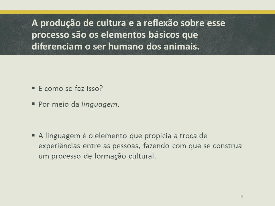 A produção de cultura e a reflexão sobre esse processo são os elementos básicos que diferenciam o ser humano dos animais.