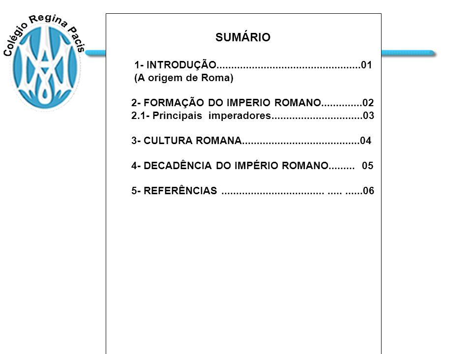 SUMÁRIO 1- INTRODUÇÃO.................................................01. (A origem de Roma) 2- FORMAÇÃO DO IMPERIO ROMANO..............02.