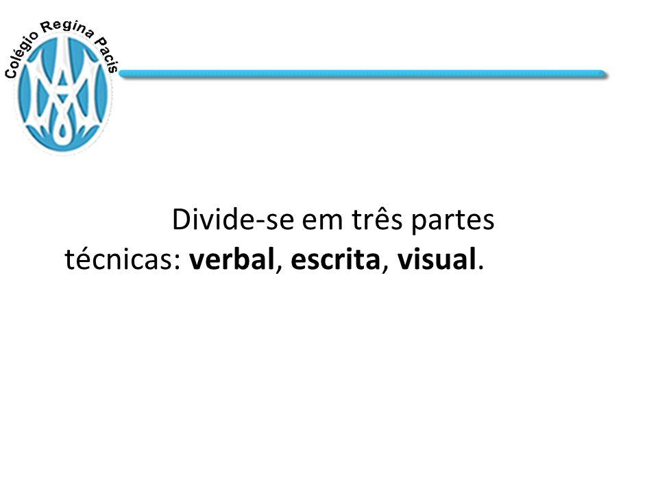 Divide-se em três partes técnicas: verbal, escrita, visual.