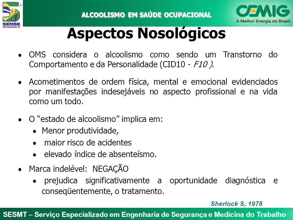 ALCOOLISMO EM SAÚDE OCUPACIONAL Aspectos Nosológicos