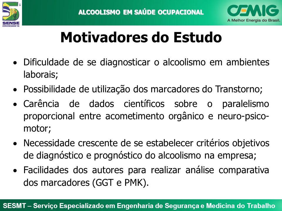 ALCOOLISMO EM SAÚDE OCUPACIONAL Motivadores do Estudo