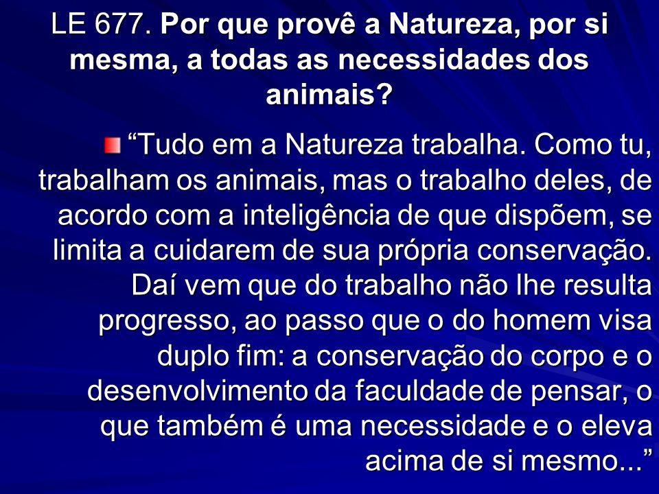 LE 677. Por que provê a Natureza, por si mesma, a todas as necessidades dos animais
