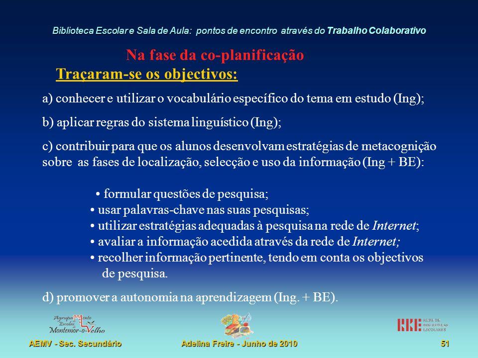 Na fase da co-planificação Adelina Freire - Junho de 2010