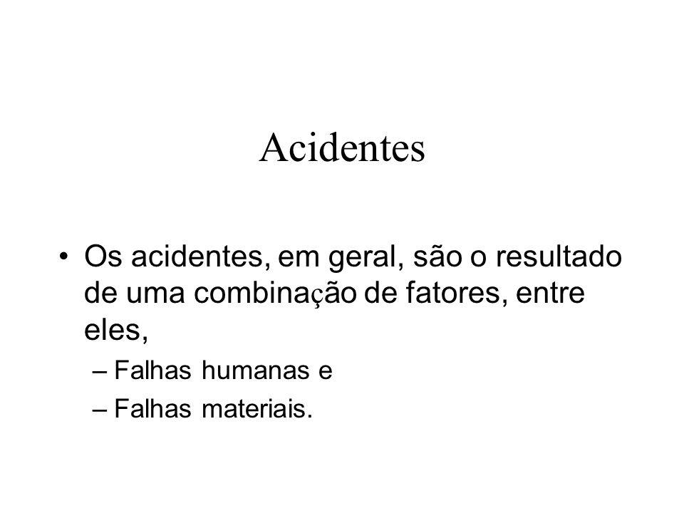 Acidentes Os acidentes, em geral, são o resultado de uma combinação de fatores, entre eles, Falhas humanas e.