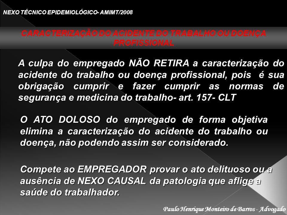 CARACTERIZAÇÃO DO ACIDENTE DO TRABALHO OU DOENÇA PROFISSIONAL